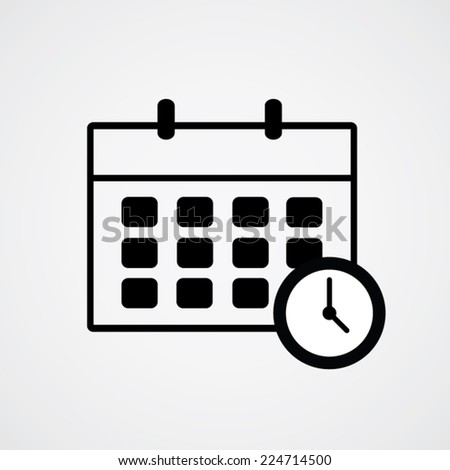 Schedule icon and clock. Vector illustration eps10. - stock vector