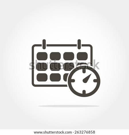 schedule icon - office clock with calendar, minimum points, clean work, vector illustration - stock vector