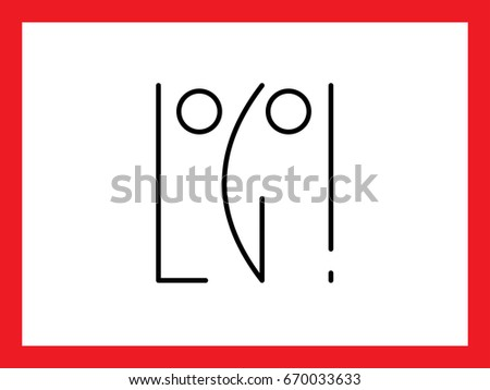 Schematic Designation Face Form Letters L Stock Vector 670033633 ...
