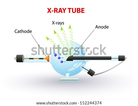 Schematic diagram of an x-ray tube that could be used for radiation therapy,  medical radiography and airport security. Vector - stock vector