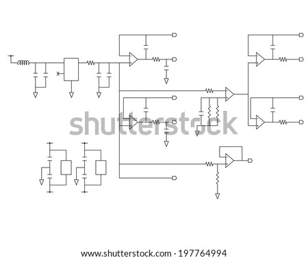 schematic diagram - project of electronic circuit - graphic - stock vector