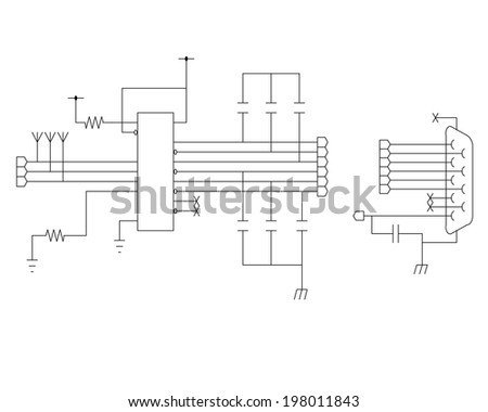 schematic diagram - project of electronic circuit - graphic