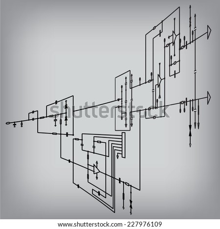 Schematic Diagram Project Electronic Circuit Graphic Stock Vector ...