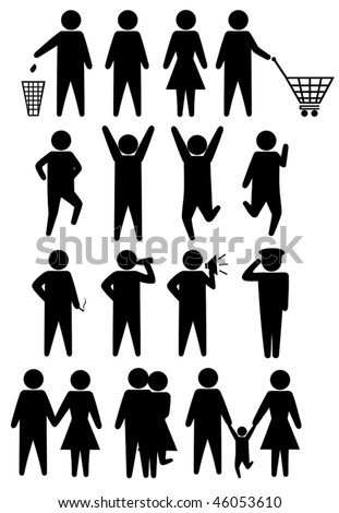 Schematic icons set people. Vector illustration object isolated - stock vector