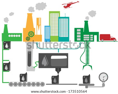 Schematic illustration of industrial factory and city that producing oil. - stock vector