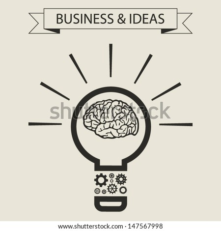 Schematic info graphic of smart light bulb. Business mind and ideas concept. Vector illustration - stock vector