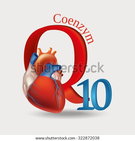 Schematic representation of Coenzyme Q10 - antioxidant substances necessary for the maintenance of normal heart function. Light background. - stock vector