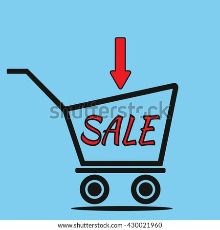 Schematic representation of the shopping trolley, the arrow and the inscription SALE. Blue background. Abstract illustration. - stock vector