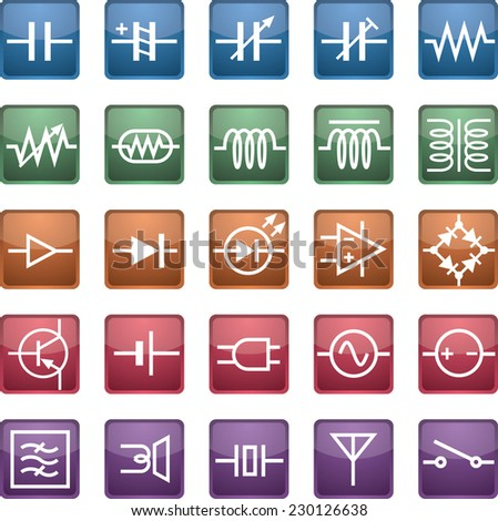 schematic symbol icon, capacitors, resistors, coils, semiconductors, etc. vector - stock vector