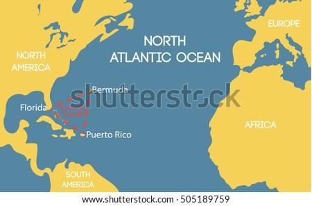 Schematic Vector Map Bermuda Triangle Stock Vector 505189759