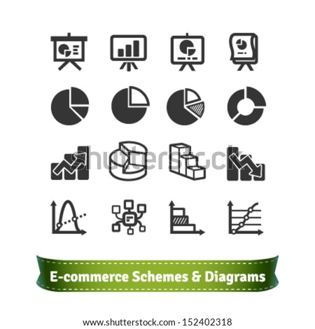 Scheme and Diagram Icons for Presentation in E-commerce, Statistics, Finance and Business Areas - stock vector