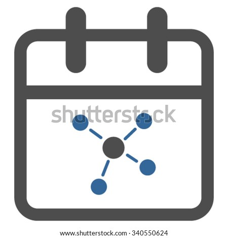 Scheme Date vector icon. Style is bicolor flat symbol, cobalt and gray colors, rounded angles, white background. - stock vector