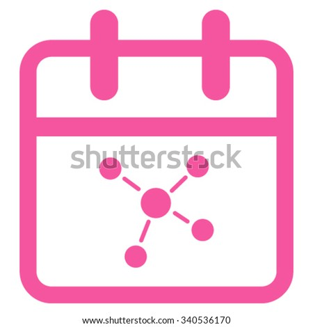 Scheme Date vector icon. Style is flat symbol, pink color, rounded angles, white background. - stock vector