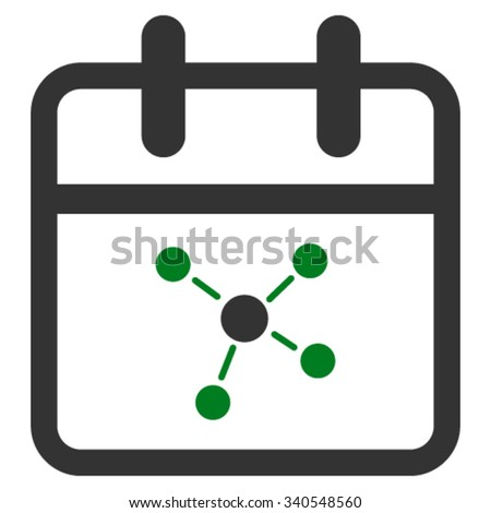 Scheme Day vector icon. Style is bicolor flat symbol, green and gray colors, rounded angles, white background. - stock vector
