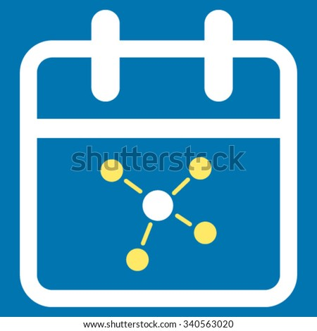 Scheme Day vector icon. Style is bicolor flat symbol, yellow and white colors, rounded angles, blue background. - stock vector