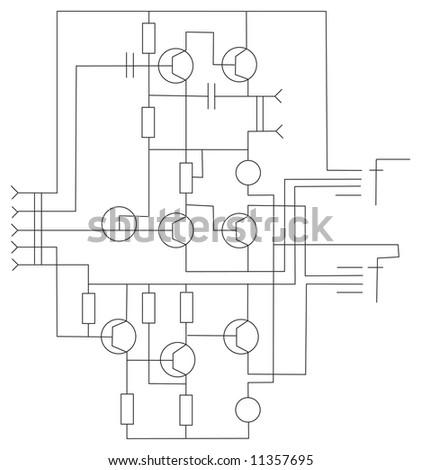 scheme electronic vector - stock vector