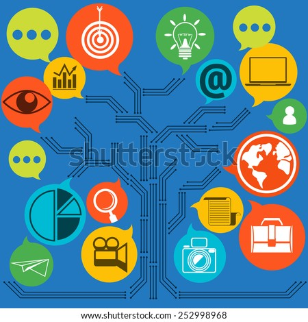 Scheme of web contact and business newsletter email envelope and symbols of chart global dollar eye. Regularly distributed news publication via e-mail with some topics of interest to its subscribers - stock vector