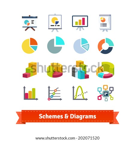 Schemes and diagrams for presentation in eCommerce, statistics, finance and business. Flat icon set. EPS 10 vector. - stock vector