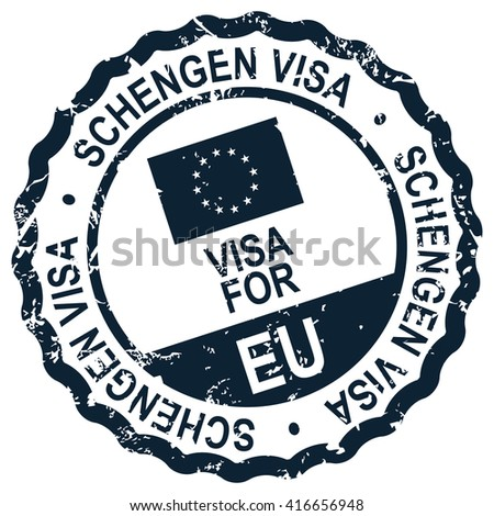 schengen visa stamp - stock vector