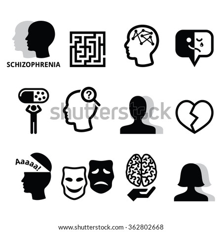 Schizophrenia, mental health, psychology vector icons set   - stock vector