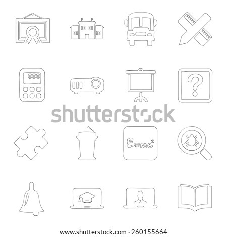 Scholastics icon line hand drawn Set 4 - stock vector