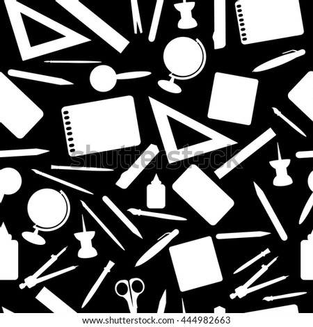 School accessories seamless pattern. Stationery black and white background