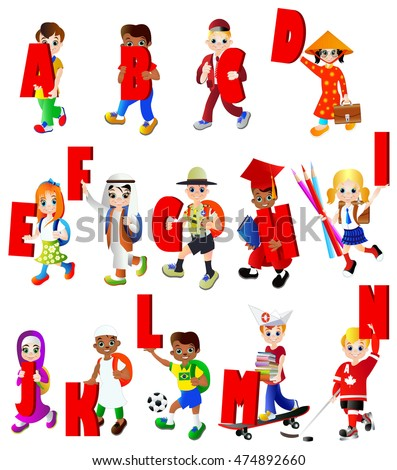 School alphabet, letters from A to N. Set of diverse school kids. Different nationalities and dress styles. European, American, Asian and African children, vector illustration, isolated on white.