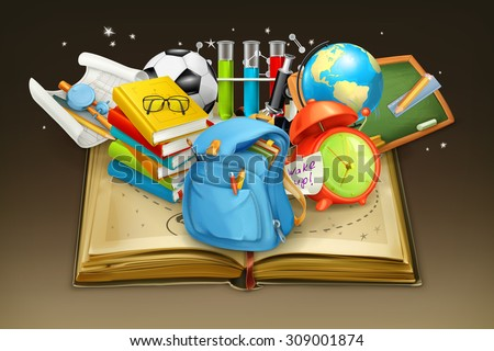 School and book, vector background - stock vector
