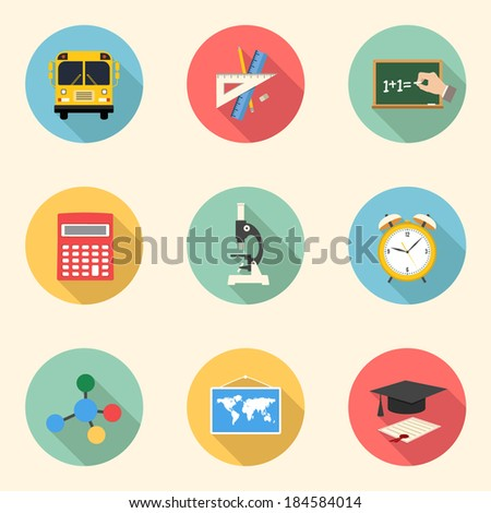school and education colorful flat design icons set. template elements for web and mobile applications. part 1 - stock vector
