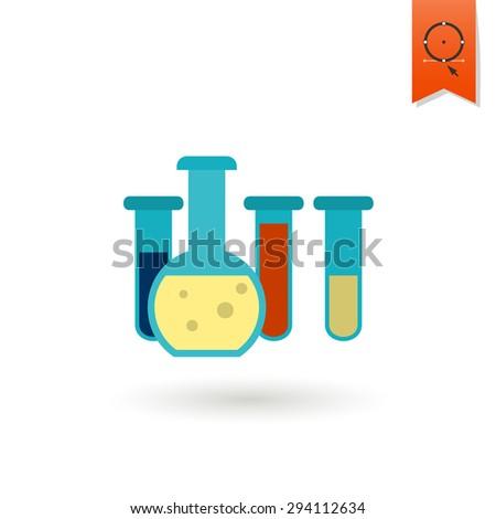 School and Education Icon - Beaker. Vector Illustration. Flat design style - stock vector