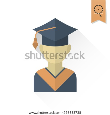 School and Education Icon - Master Cap. Vector Illustration. Flat design style - stock vector