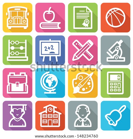 School and Education Icons - Flat Series - stock vector
