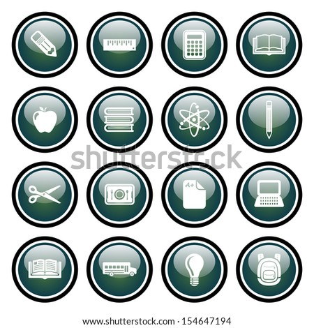 School  and Education Icons Glass Button Icon Set
