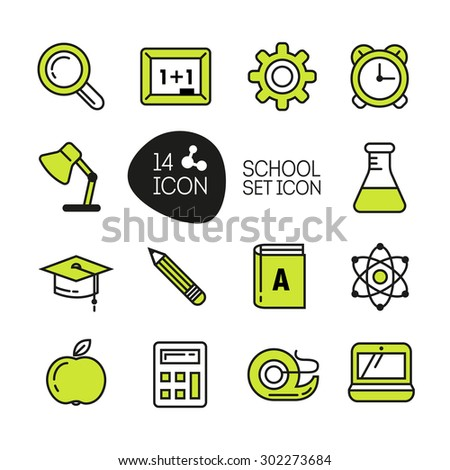 School and Education Icons in thin line style - stock vector