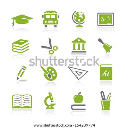 School and Education Icons // Natura Series - stock vector