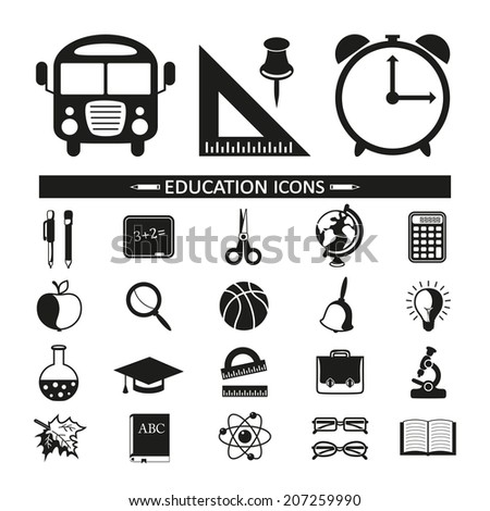 School and Education Icons on white background. - stock vector