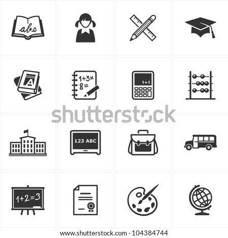 School and Education Icons - Set 1 - stock vector