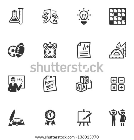 School and Education Icons - Set 4 - stock vector