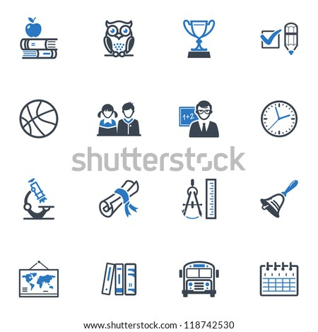 School and Education Icons Set 3 - Blue Series - stock vector