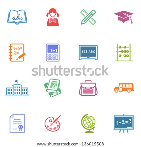 School and Education Icons - Set 1 | Colored Series - stock vector