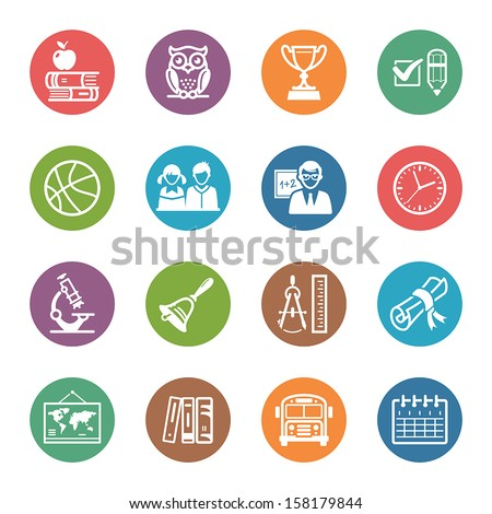 School and Education Icons Set 3 - Dot Series - stock vector