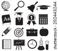 School and Education Icons set for science, knowledge, reading, math, chemistry, geography. Science sign and symbol. Vector illustration. - stock vector
