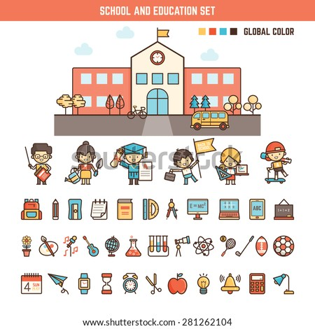 school and education infographics elements for kid including characters , building and icons - stock vector