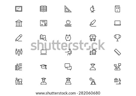 School and Education Line Vector Icons 1 - stock vector