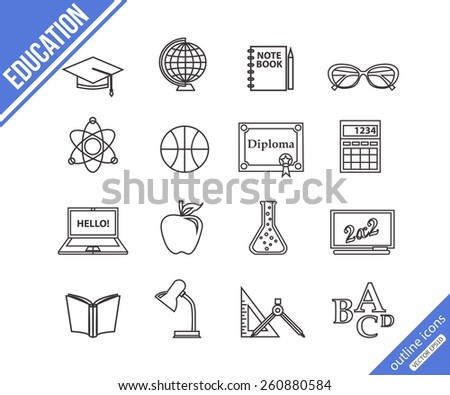 School and education outline icons set. Vector illustration.