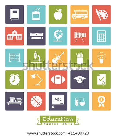 school and education related square colored vector icons collection - stock vector