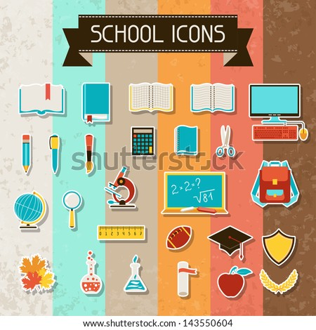 School and education sticker icons set. - stock vector