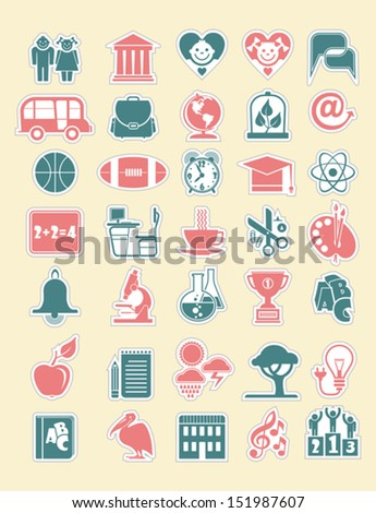 School and Education vector Icon Set.