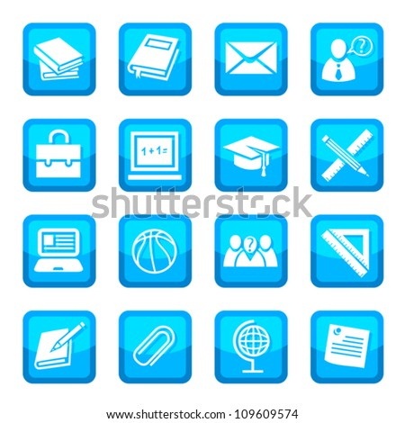 School and Education vector Icon Set for web and mobile. All elements are grouped. - stock vector