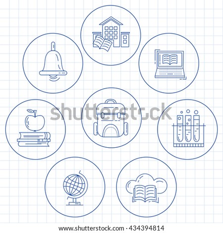 School and education vector icons - stock vector